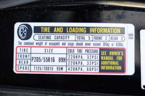 Tire inflation sticker - from TireIndustry.org